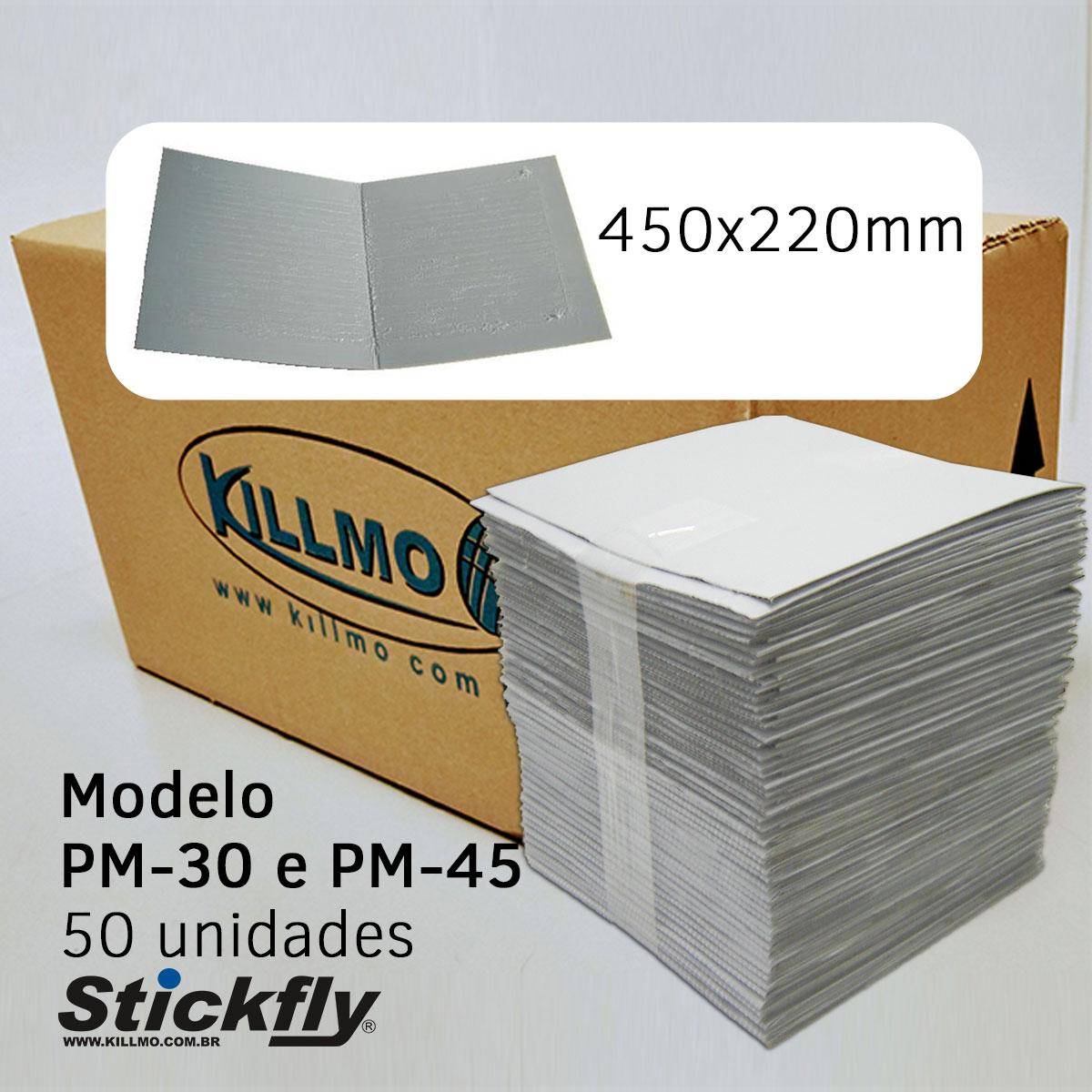 CAIXA 50 UNIDADES REFIL ADESIVO ARMADILHA LUMINOSA 450x220MM STICKFLY PM-30/PM-45