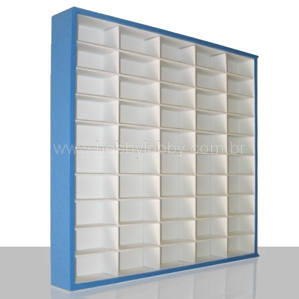 #50 DIECAST DISPLAY CASE - 1:64 [Cor: Azul] - Hobby Lobby CollectorStore