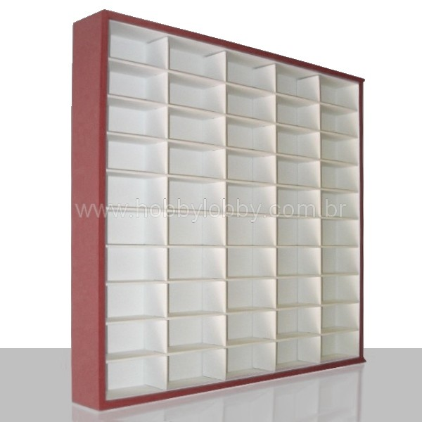#50 DIECAST DISPLAY CASE - 1:64 [Cor: Vermelha]  - Hobby Lobby CollectorStore