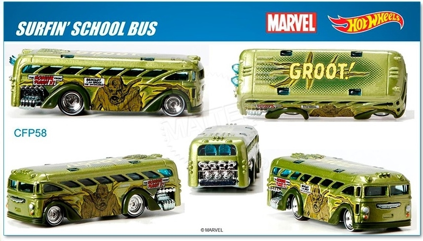 Hot Wheels - 2015 Pop Culture - Marvel -  Surfin` School Bus  - Hobby Lobby CollectorStore