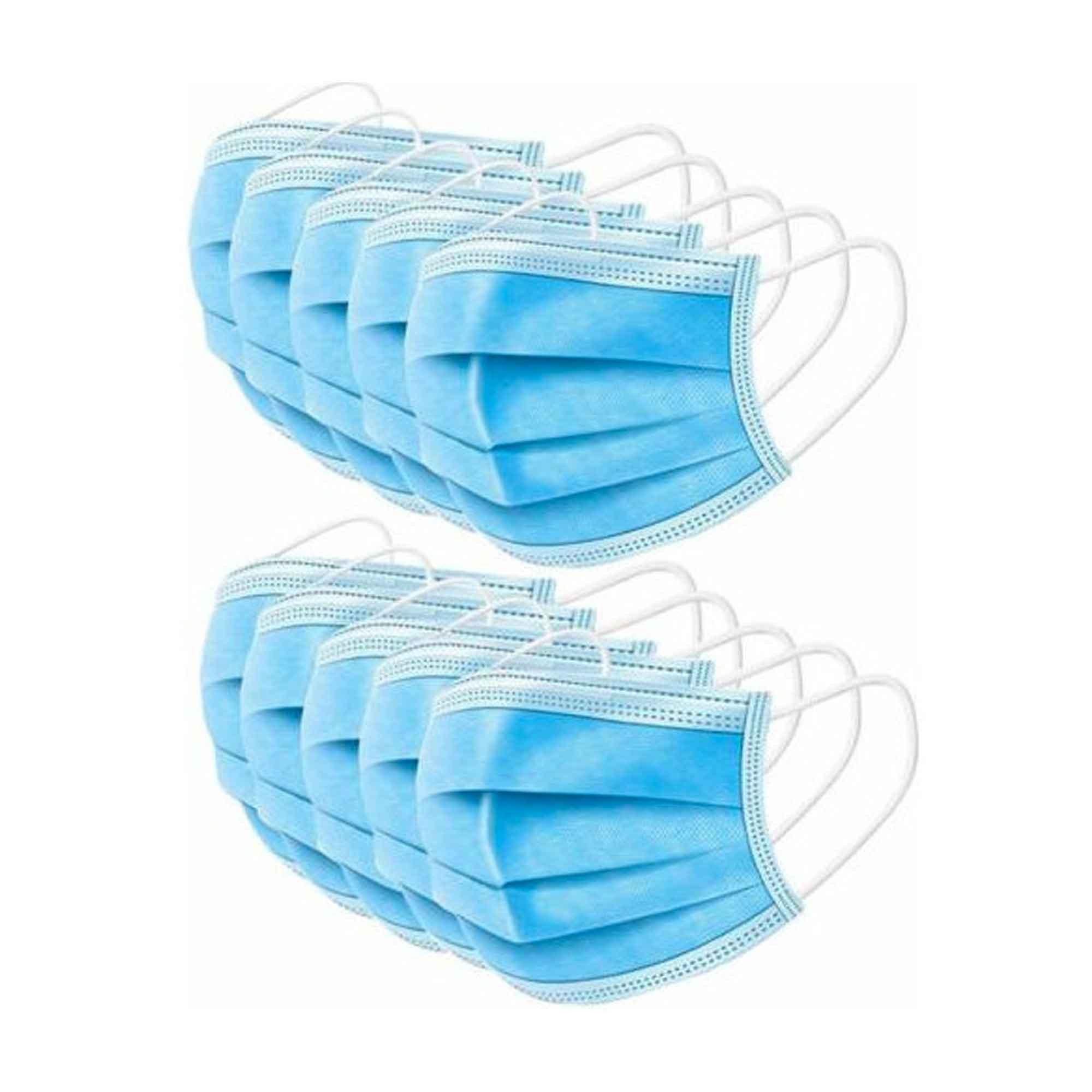 Máscara Azul Descartável - Triplas TNT com Elástico e Clip Nasal - Protdesc - Acima de 50 unidades