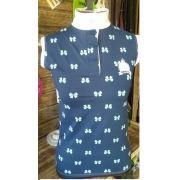 Camisa de prova azul lacinhos