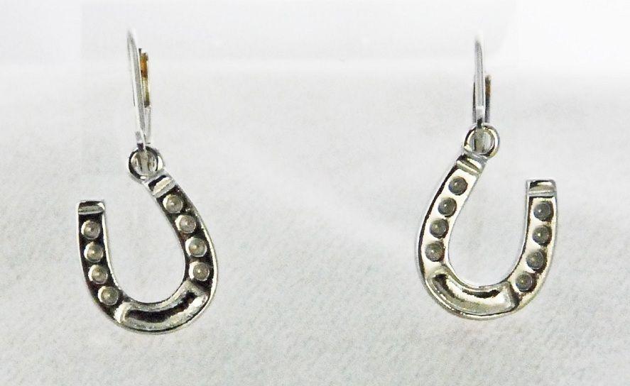 Brinco ferradura pendurada prata envelhecida