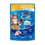 Ração Úmida Nestlé Purina Cat Chow para Gatos Castrados sabor Peixe 85 g
