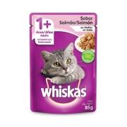 Ração Úmida Whiskas Sachê para Gatos Adultos Sabor Salmão ao Molho - 85 g