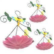 Enfeite de Ferro Para Jardim Casa Para Pendurar Kit Com 3 Rosa Quintal Flor Libelula (JARD-45)