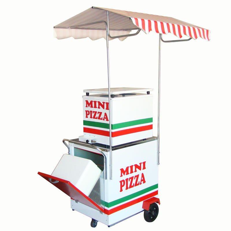 Carrinho de Mini Pizza e Pizza na Pedra Compacto  com Forno