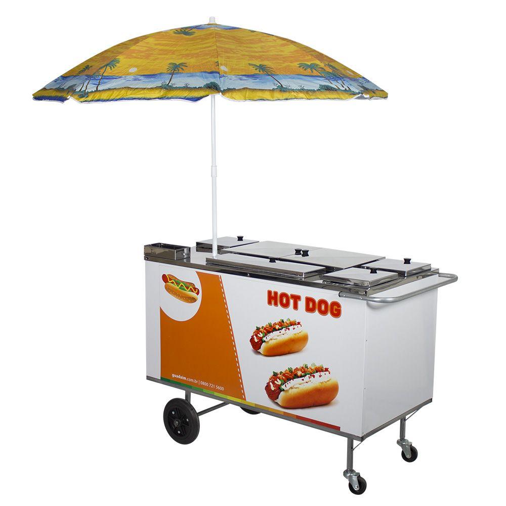 Carrinho de Hot Dog, Lanches e Cachorro Quente CH3 com Adesivo e  Guarda-Sol Alsa