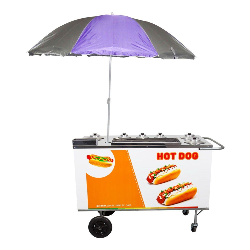 Carrinho de Hot Dog, Lanches e Cachorro Quente CH4 com Guarda-Sol Alsa