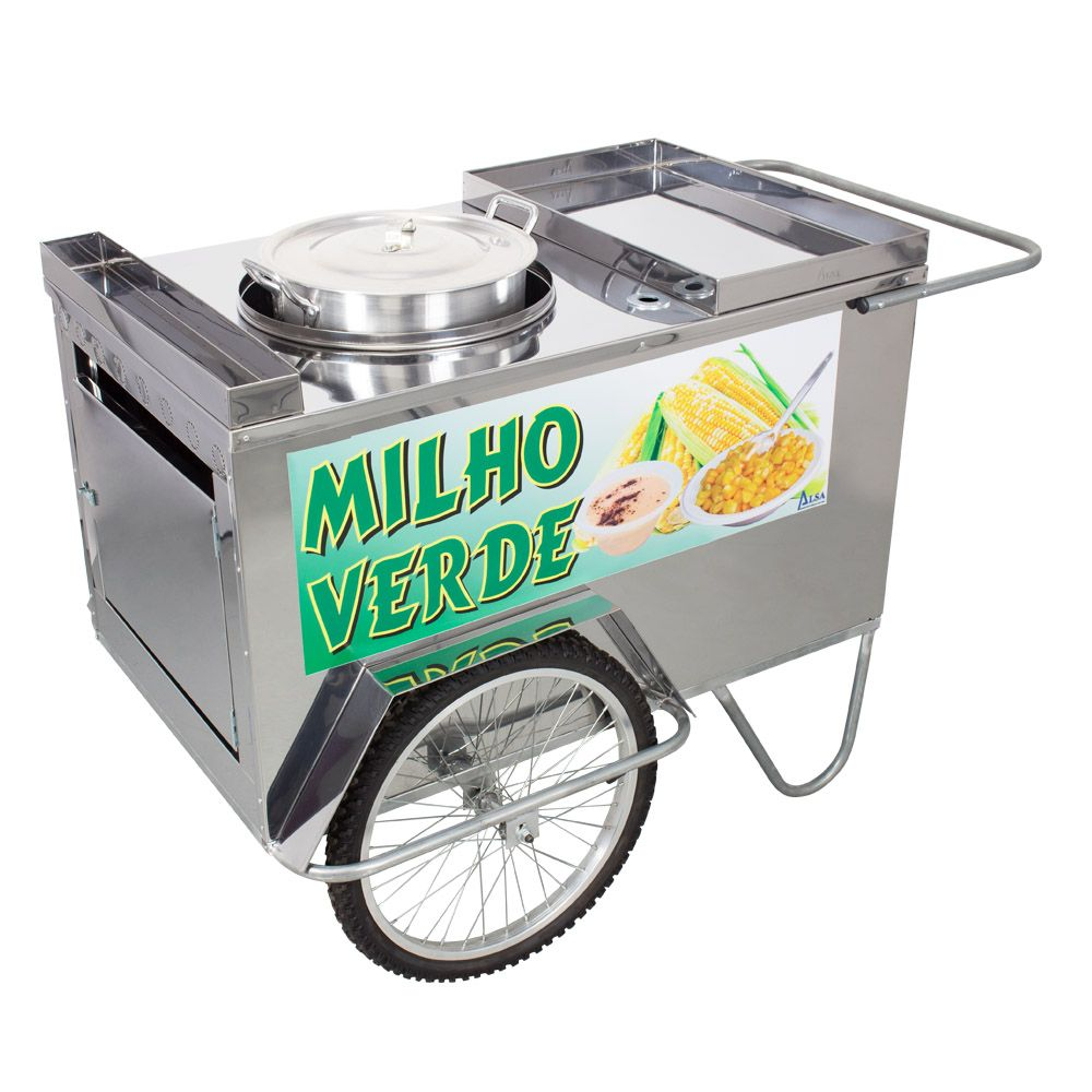 Carrinho de Milho Verde em Aço Inox Alsa