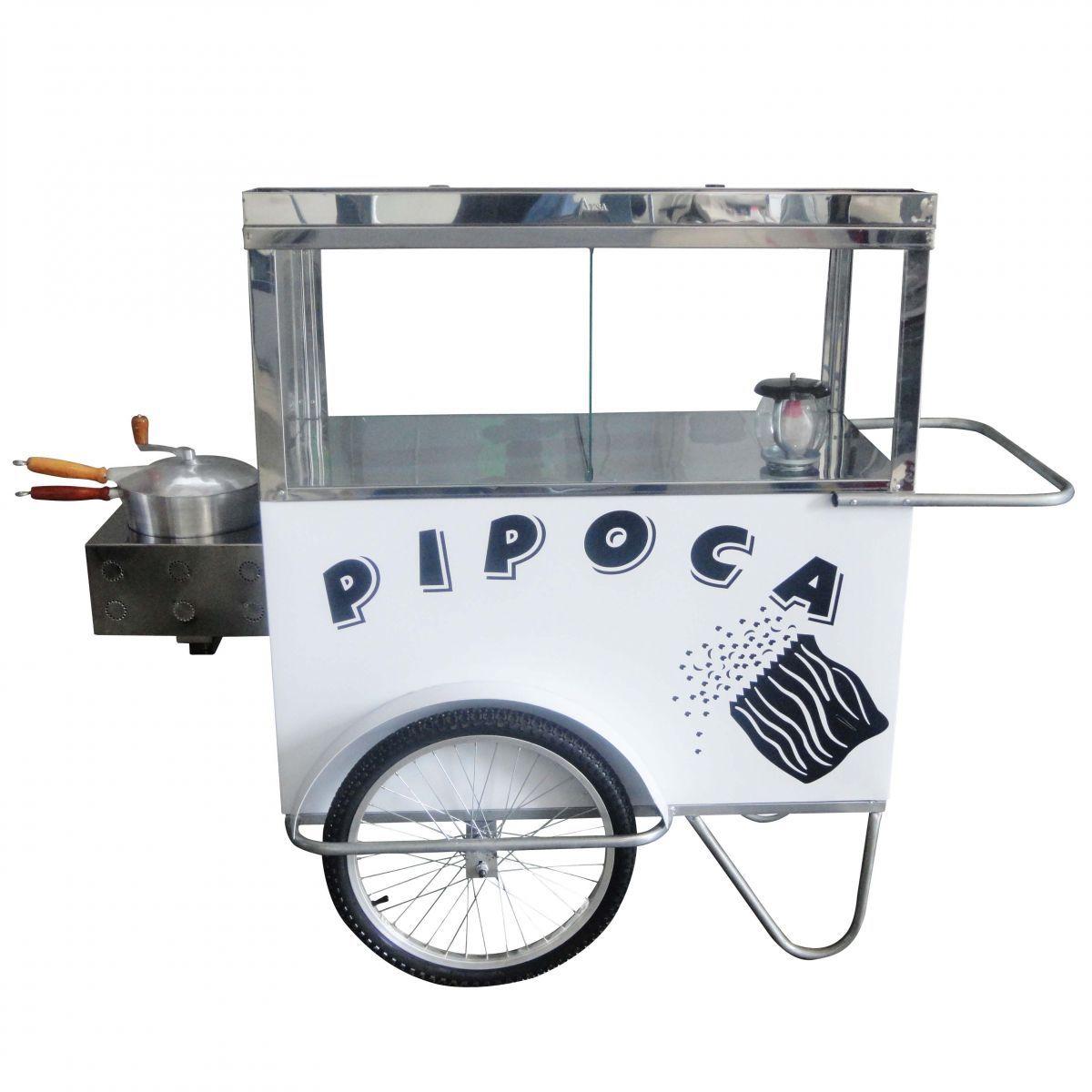 Carrinho de Pipoca a Gás com Lampião em Metal Alsa