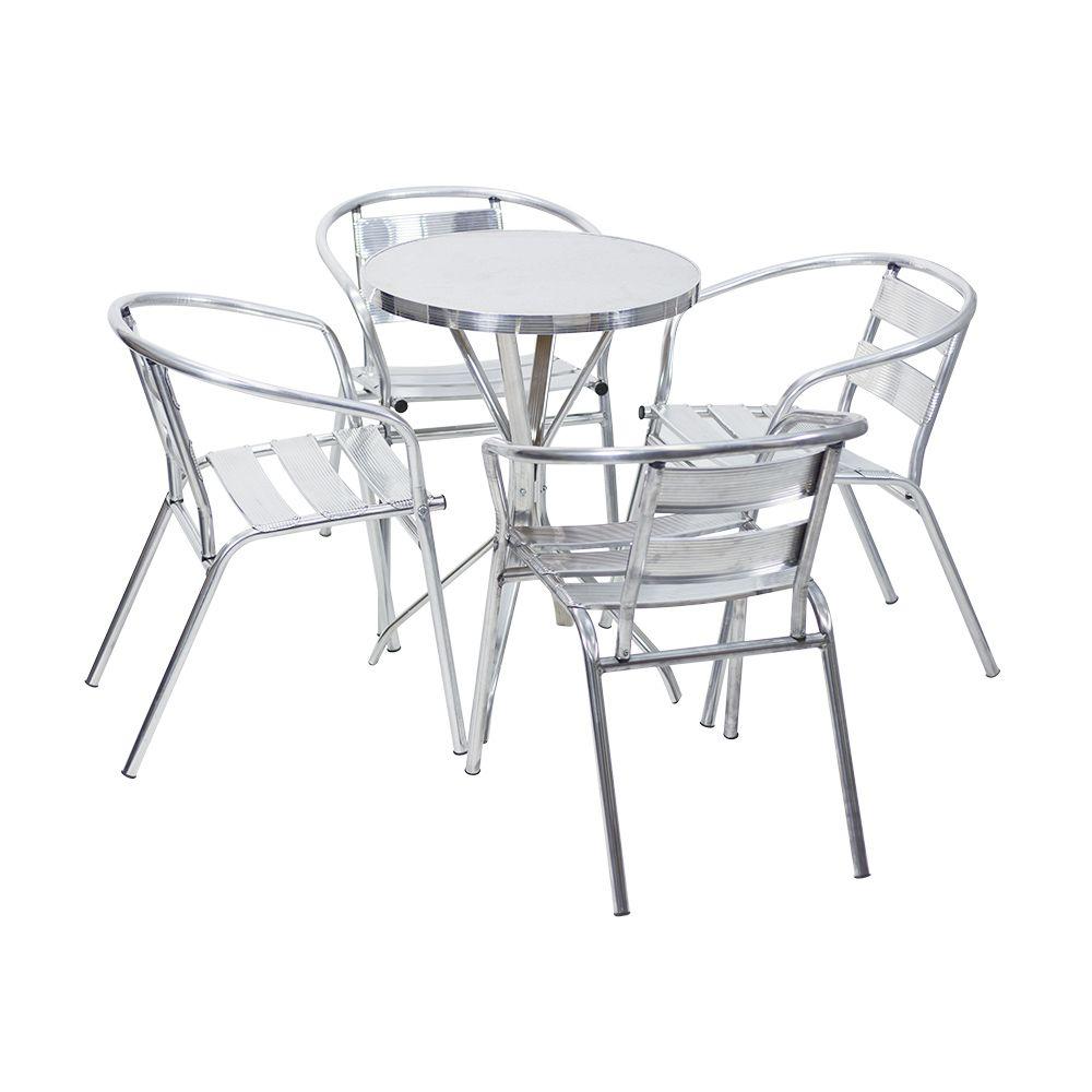 Mesa de Alumínio 60 cm x 60 cm Redonda Bistrô com 4 Cadeiras Master