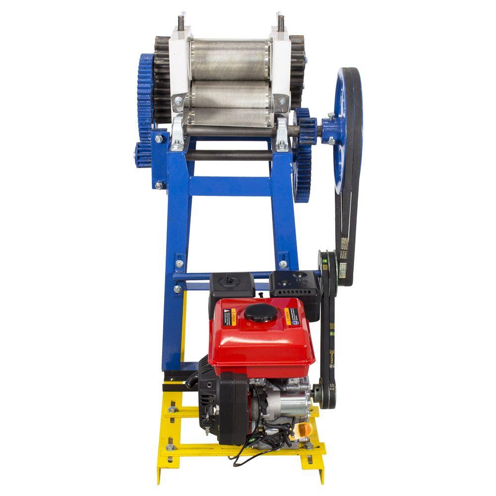 Moenda de Cana 500 Litros Gasolina Partida Elétrica Rolos de Inox