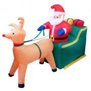 Infl�vel Papai Noel no Treno Com Rena - 1,90 Mts. Comprimento