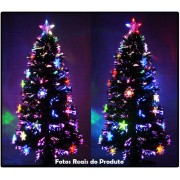 Árvore de Natal 90 cm com Fibras Óticas e Leds Coloridos + Enfeite de Acrílico - Magazine Legal