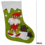 Bota de Natal Verde em Tecido com Papai Noel 1448 42cm de Altura CBRN0197