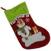 Bota de Natal Vermelho em Tecido com Boneco de Neve 1446 28cm de Altura CBRN0173
