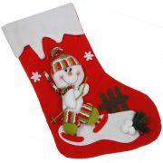 Bota de Natal Vermelho em Tecido com Boneco de Neve 1448 42cm de Altura CBRN0203