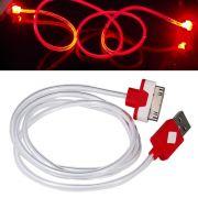 Cabo Iphone 4 Dados e Carregador com LED WMTCB4GLED Vermelho 95cm