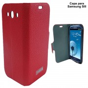 Capa Celular Samsung SIII Luxo Couro Sint�tico CBR-1074 Jinque