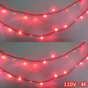Cord�o 100 LEDs 10m Vermelho 110VOLTS Fio Vermelho 4F CBRN0692