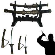 Espada Samurai Katana Ninja Kit 2 espadas com suporte de Mesa CBRN02009