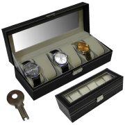 Estojo, Caixa 6 Relógios Luxo Couro Sintético Preto WMTLL80213