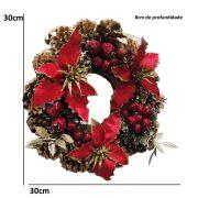 Guirlanda de Natal 30cm Luxo Decoração Natalina Vermelho CBRN0548
