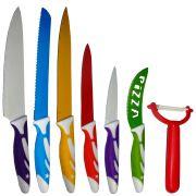 Jogo 6 Facas 1 Descascador Lâminas Coloridas WMT172239