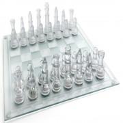 Jogo de Xadrez Tabuleiro em Vidro Transparente Luxo 25 cm CBR-01087