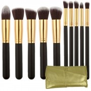 Kit 10 Pincéis Kabuki para maquiagem bolsa dourada CBR04393