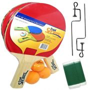 Kit 2 Raquetes 3 Bolas 1 Rede Ping Pong Tênis de Mesa 4855 - Bel Sports
