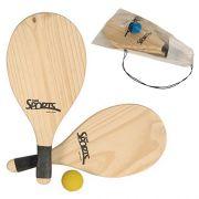 Kit 2 Raquetes de Praia 1 Bola nº3 Frescobol Bel Sports 4810
