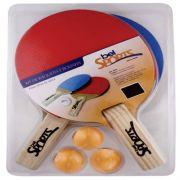 Kit 2 Raquetes e 3 Bolinhas Super 40 Tênis de Mesa 4850 Bel