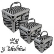 Kit 3 Maletas Maquiagem Alum�nio Profissional Rubys FS-1132F