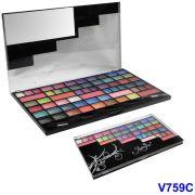 Kit Maquiagem 55 Sombras Cintilantes 5 Blushes Jasmyne V759-C
