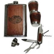 Kit Porta Whisky Garrafa de Bolso Cantil 9 OZ 261ml DJH-0313