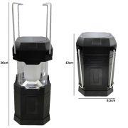 Lampião Lanterna p/ Camping a Pilhas 6 LEDS PRETO CBRN01262