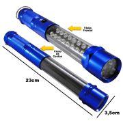 Lanterna 25 LEDs com imã e gancho 23 CM a pilha AZUL CBRN01330