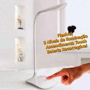 Luminária de mesa 15 LEDS 3 níveis iluminação recarregável CBRN01231