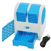 Mini Ventilador Climatizador Portátil Aromatizante 13,5cm à Pilhas ou USB Azul CBRN1057