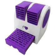 Mini Ventilador Climatizador Portátil Aromatizante 13,5cm à Pilhas ou USB Roxo CBRN1088