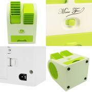 Mini Ventilador Climatizador Portátil Aromatizante 13,5cm à Pilhas ou USB Verde CBRN1064