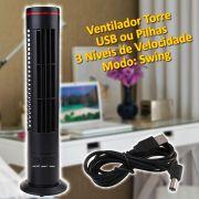 Mini Ventilador Torre USB e Pilha Preto CBRN01774