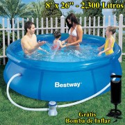 Piscina Infl�vel 2300 Lts Bestway + Bomba Filtrante 1250Lts + Bomba de Inflar Manual 244cm di�metro