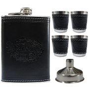 Porta Whisky Garrafa de Aço Portátil Cantil 9 OZ-270ml-JB-20108 - Preto