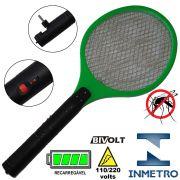 Raquete Mata Mosquito, Mosca e Inseto El�trica Recarreg�vel Bi-volt Verde CBRN0784