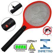 Raquete Mata Mosquito, Mosca e Inseto El�trica Recarreg�vel Bi-volt Vermelho CBRN0753