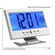 Relógio de mesa digital lcd led acionamento sonoro despertador termometro PRATA CBRN01439