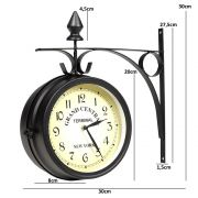 Relógio de Parede Dupla Face Estação de Trem Vintage Retro CBRN01118